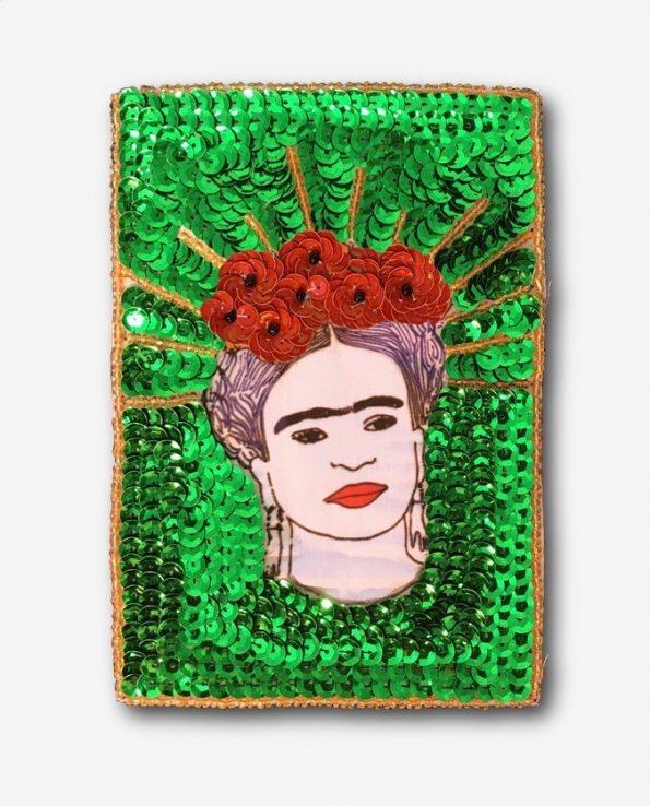 Ecusson à coudre Frida Kahlo fond vert