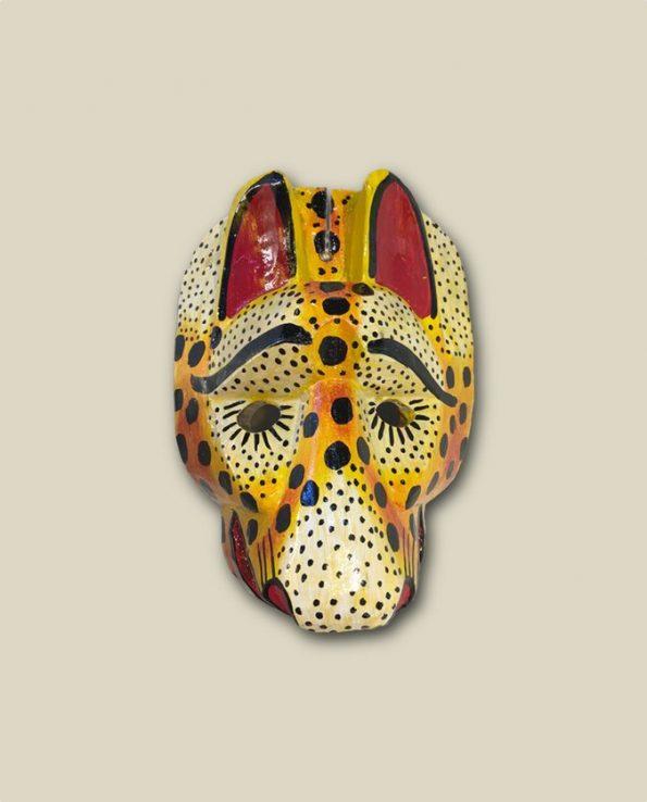 Masque en bois peint du Guatemala, tête de jaguar
