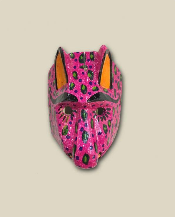 Masque en bois peint du Guatemala, tête de puma