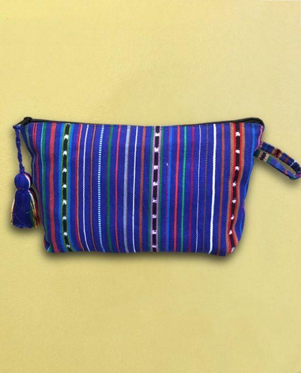 Trousse tissée main Guatemala - bleue