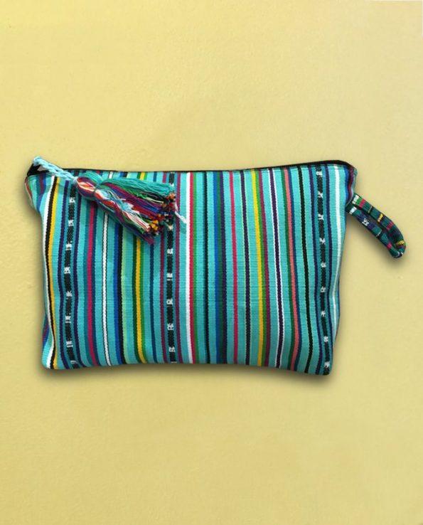 Trousse tissée main Guatemala - turquoise