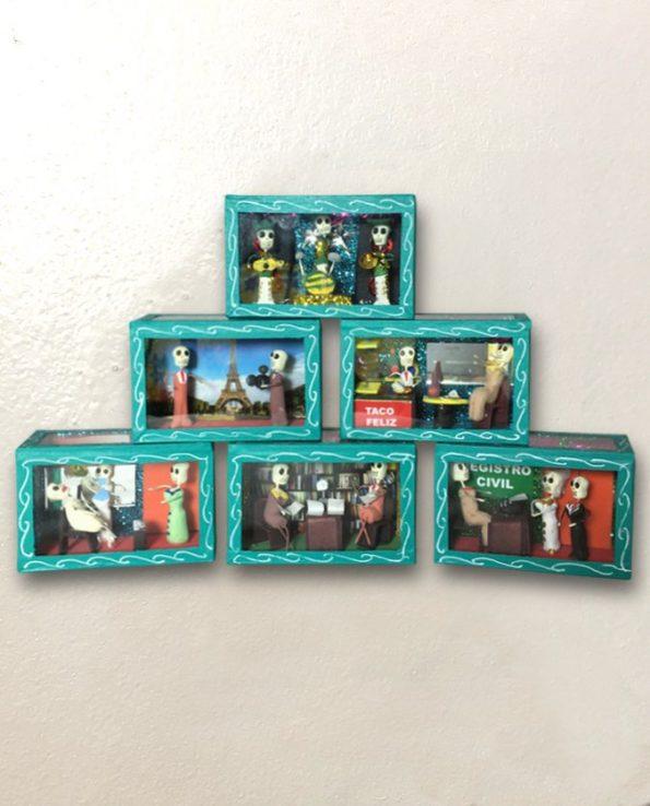 Vitrine mexicaine sanyètes calacas turquoise
