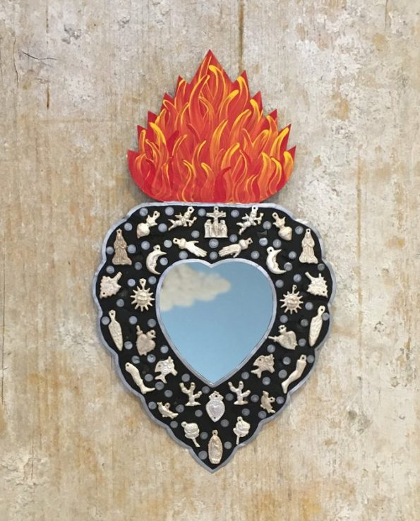 Coeur miroir mexicain serti de milagros - Tienda Esquipulas