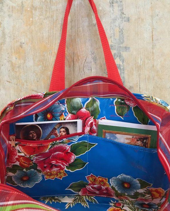 Cabas toile cirée mexicaine et nylon - Intérieur