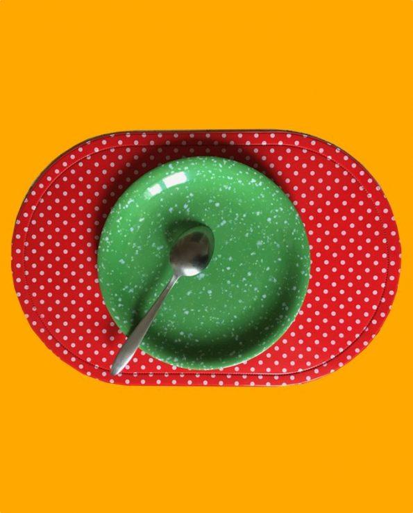 Assiette mélamine ronde motif vert sablé - Tienda Esquipulas