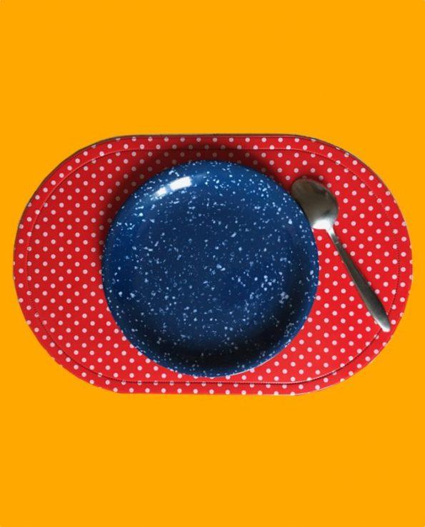 Assiette mélamine ronde motif bleu sablé - Tienda Esquipulas