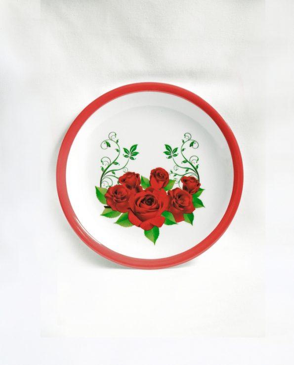 Assiette mélamine ronde motif roses2 bord rouge