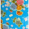 Toile cirée mexicaine Crisantemos bleu ciel