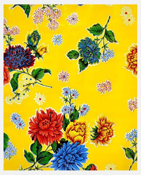 Toile cirée mexicaine Crisantemos jaune