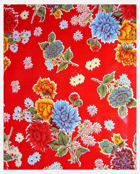 Toile cirée mexicaine Crisantemos rouge