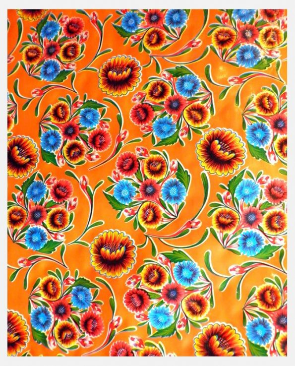 Toile cirée mexicaine Dulce flor orange