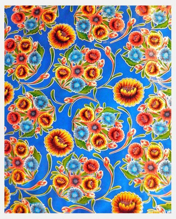 Toile cirée mexicaine Dulce flor bleu nuit