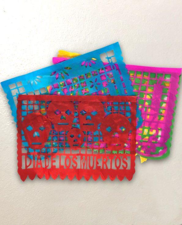 Papel picado fête des morts GM plastique 10 feuilles 40x35 cm - détail