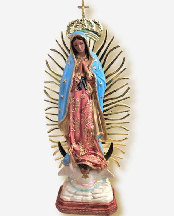 Statue résine vierge de Guadalupe 50cm - bleue