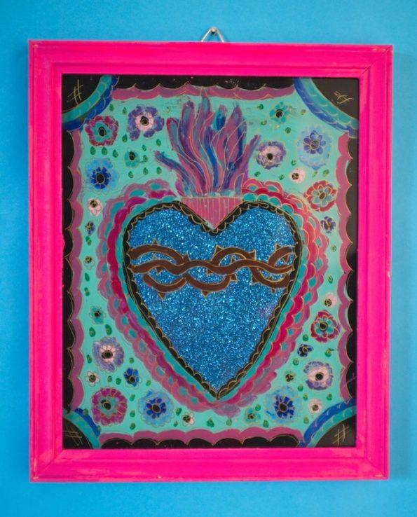 Ex-voto coeur peint sur verre 20*30cm - modèle vertical