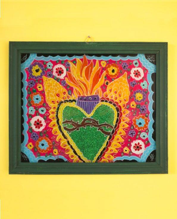 Ex-voto coeur peint sur verre 20*30cm - modèle horizontal 2