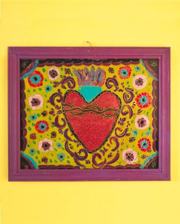 Ex-voto coeur peint sur verre 20*30cm - modèle horizontal 1
