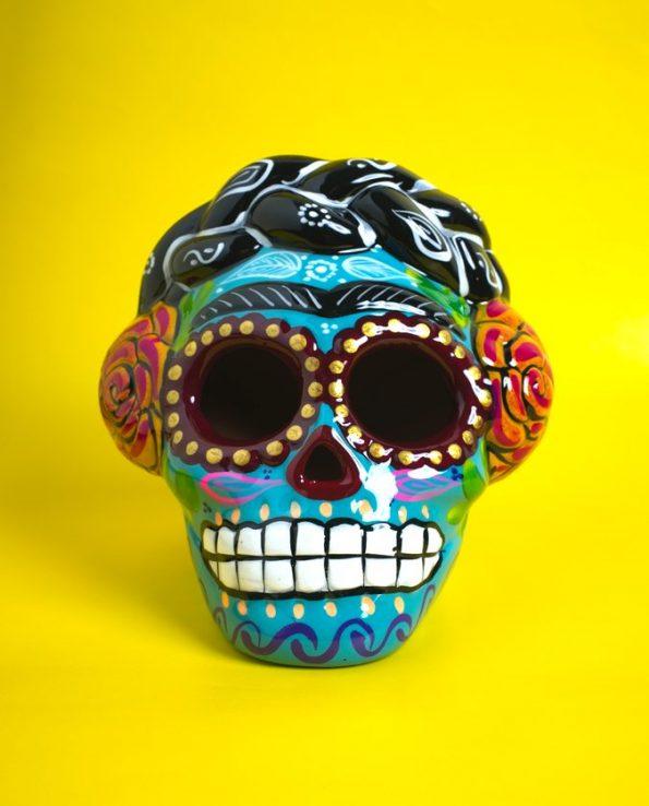 Crâne Frida céramique peinte - turquoise