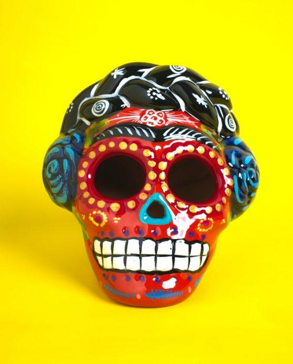 Crâne Frida céramique peinte - orange