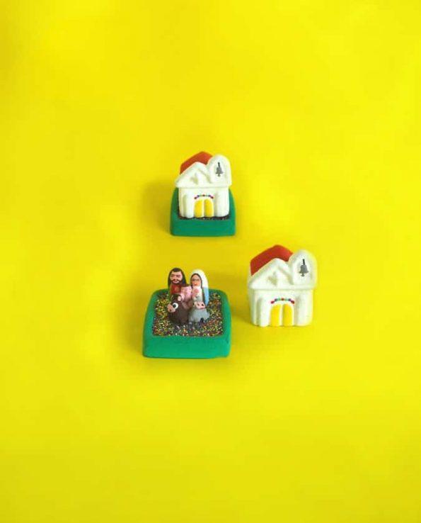 Crèche miniature artisanale église - Guatemala