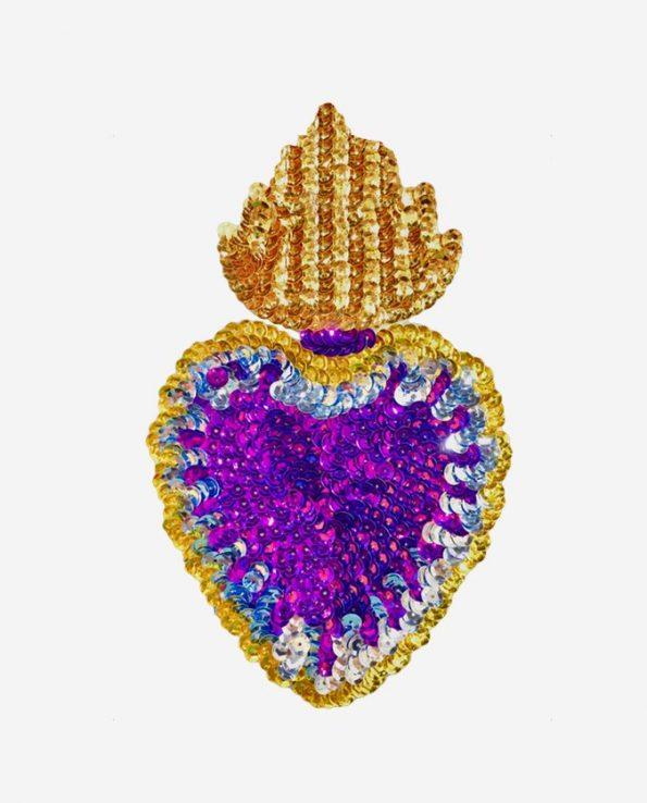 Ecusson coeur flamboyant 17cm coeur lilas