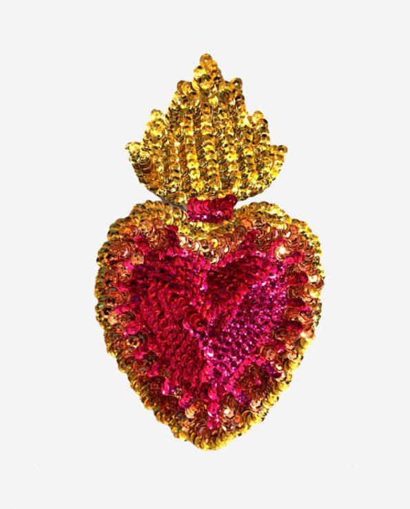 Ecusson coeur flamboyant 17cm coeur rose
