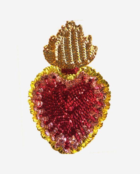 Ecusson coeur flamboyant 17cm coeur rouge