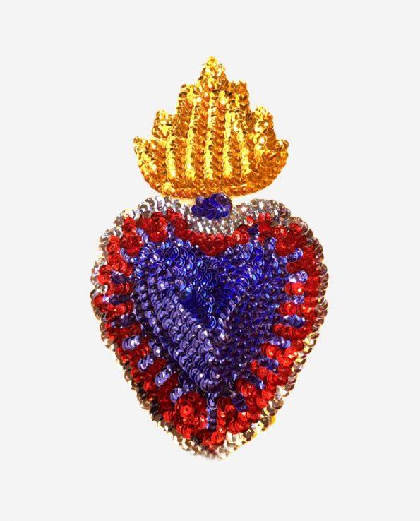 Ecusson coeur flamboyant 17cm coeur bleu