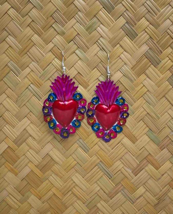 Boucles d'oreille coeur ex-voto - flores