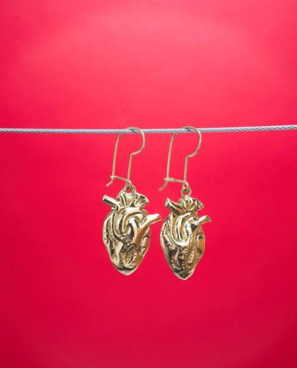 Boucles d'oreilles coeur anatomique - Dorées