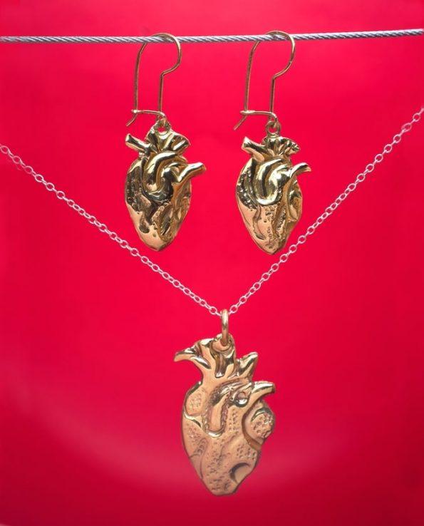 Parure coeur anatomique doré (BO + pendentif)