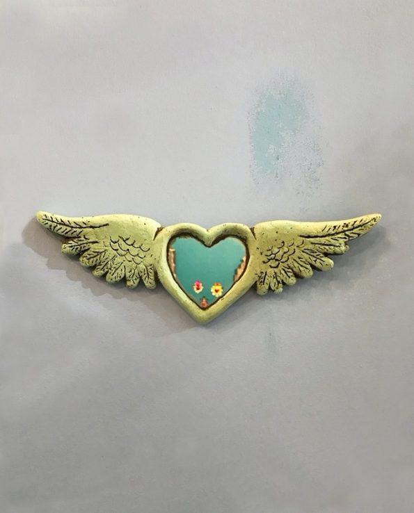 Coeur miroir ailé style ex voto mexicain 100% éco-responsable - turquoise