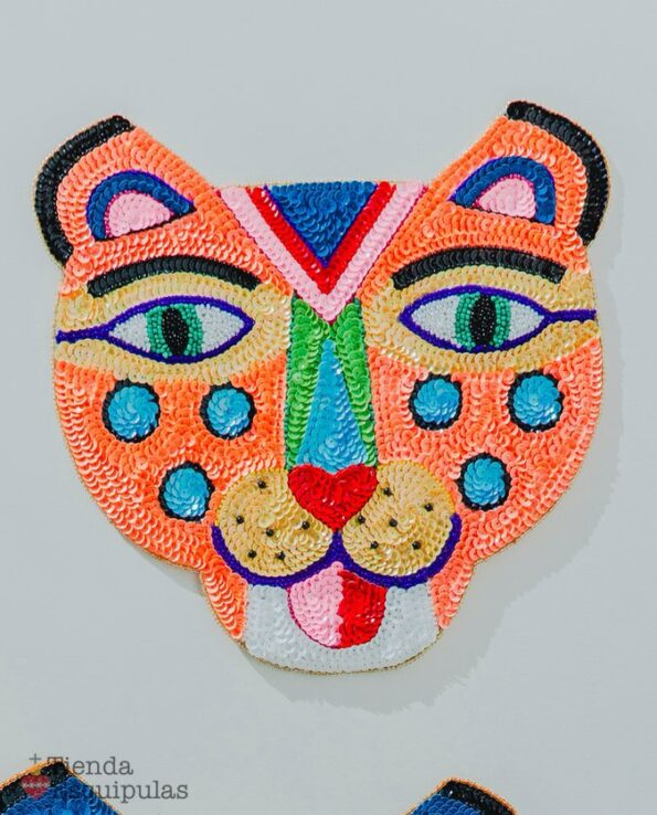 Ecusson tigre souriant 30cm - Saumon