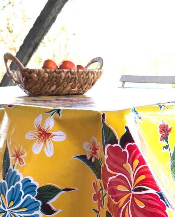 nappes toile cirée mexicaine hibiscus jaune1