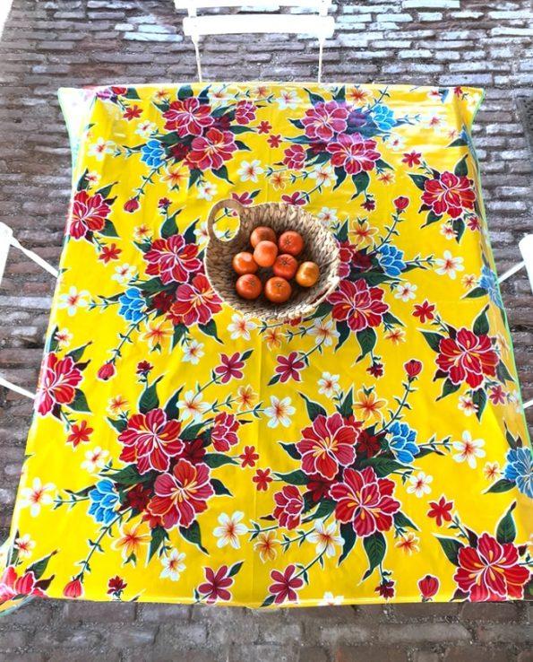 nappes toile cirée mexicaine hibiscus jaune2