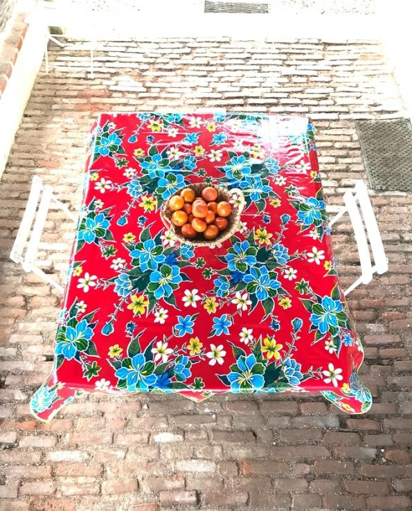 nappes toile cirée mexicaine hibiscus rouge1