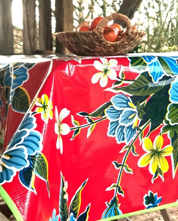 nappes toile cirée mexicaine hibiscus rouge2