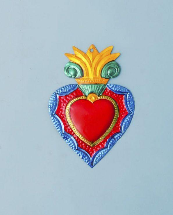 Coeur ex-voto métal repoussé 20cm modèle flamme baroque