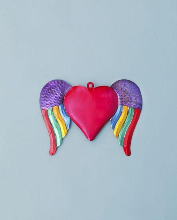 Coeur ex-voto métal repoussé 20cm modèle coeur ailé