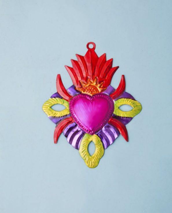 Coeur ex-voto métal repoussé 20cm modèle coeur flamme rouge
