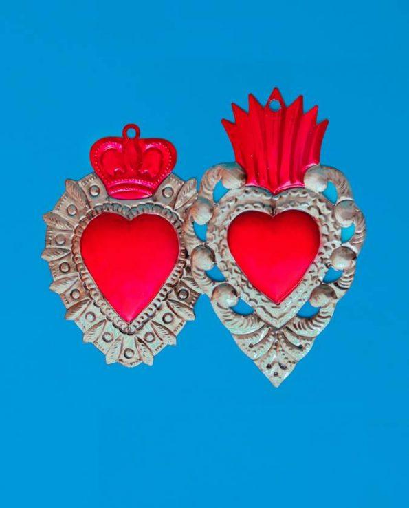 Coeur ex-voto métal repoussé 20cm bicolore