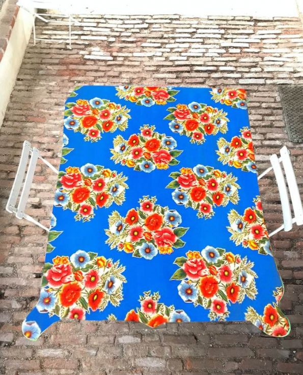 Nappe prédécoupée toile cirée ramilletes bleu (set de 3 tailles)