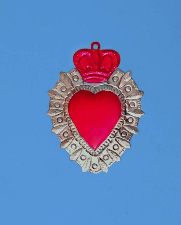 Coeur ex-voto 20cm bichrome - corona