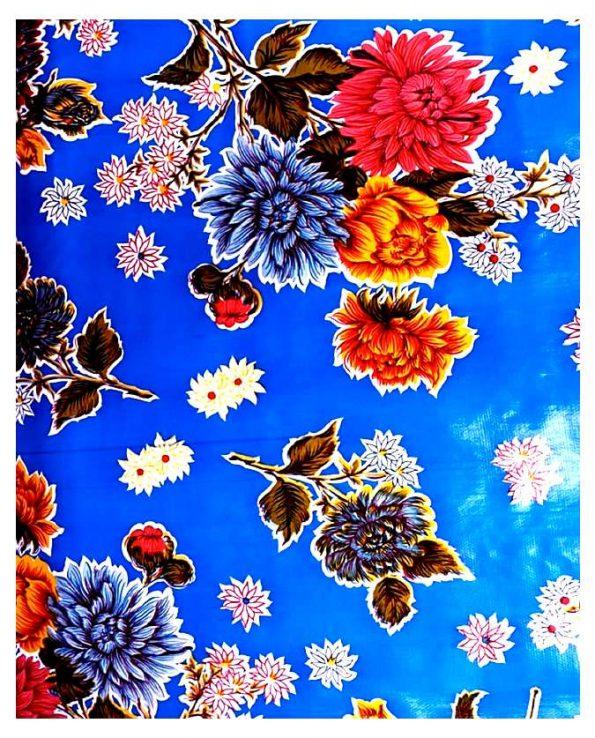 Toile cirée mexicaine crisantemos bleu foncé