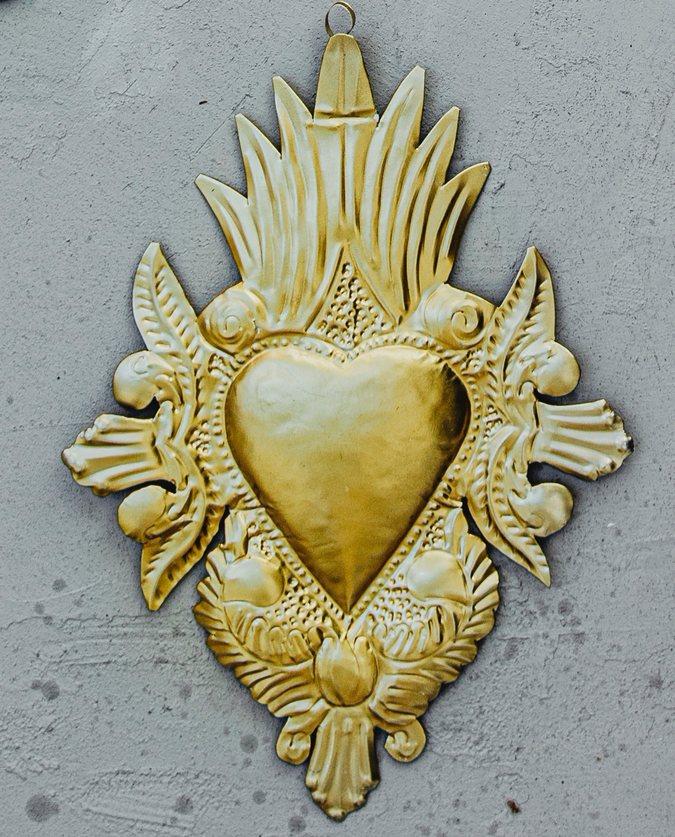coeur ex voto colonial doré