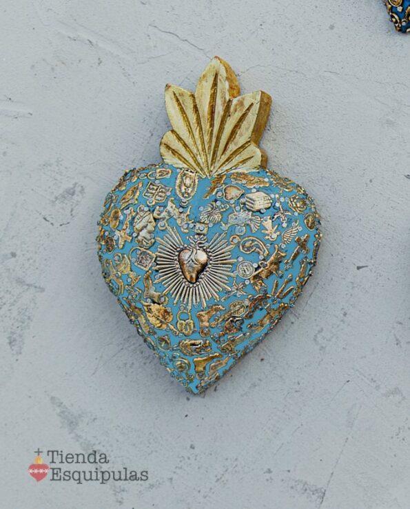 Coeur serti classic - Bleu ciel