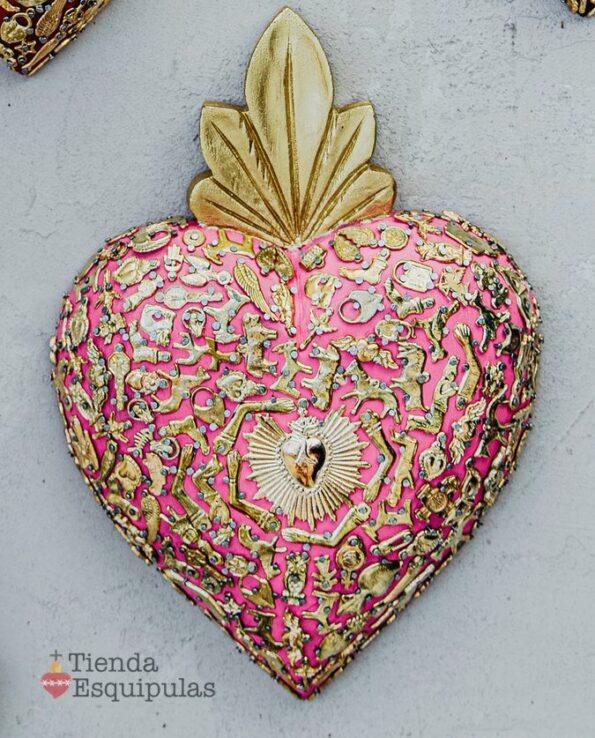 Coeur serti mega - Rose