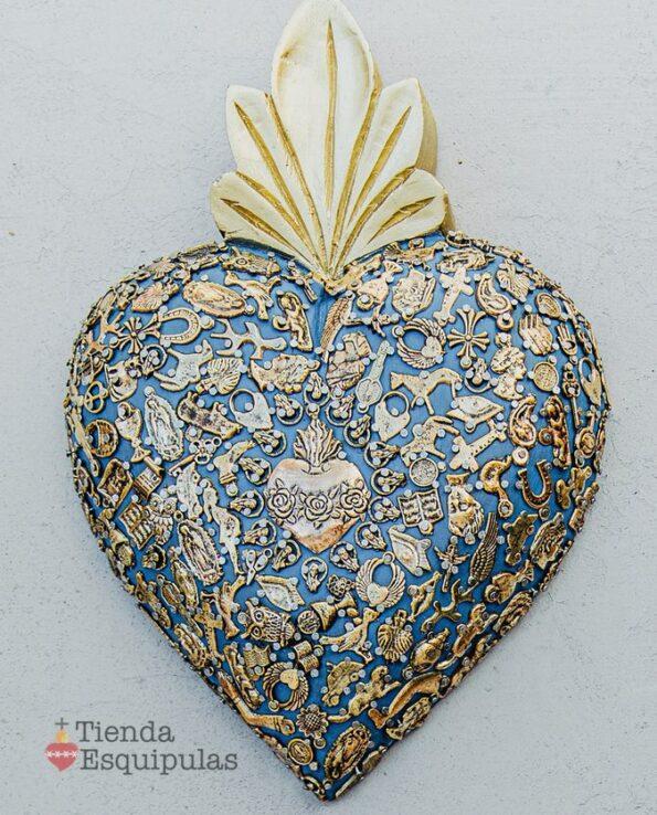 Coeur serti mega - Bleu marine