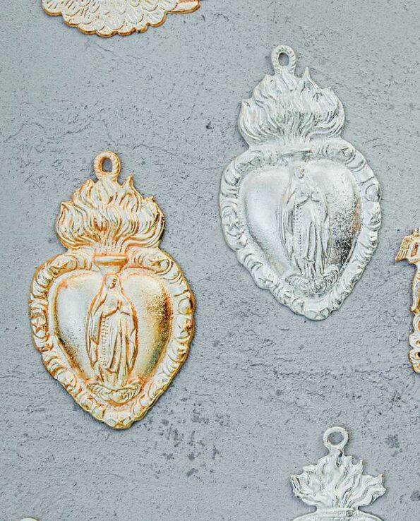 Coeur ex-voto mexicain Vierge de Guadalupe (doré ou argenté)