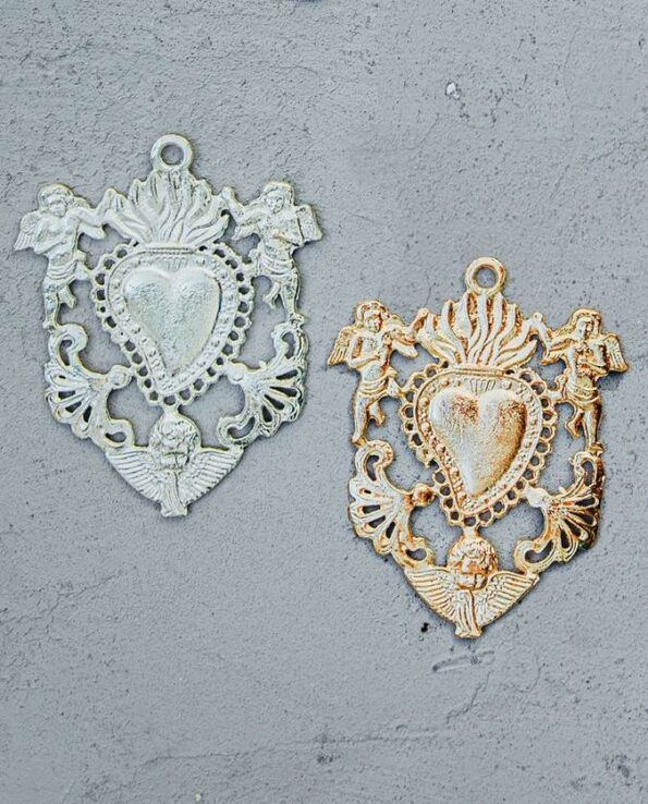 Coeur ex-voto mexicain couronne d'anges (doré ou argenté)